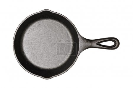 Cast-iron frying pan isolated on white