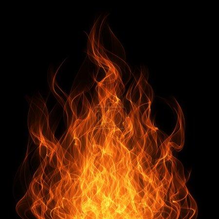 Foto de Fuego y llama en el fondo negro - Imagen libre de derechos