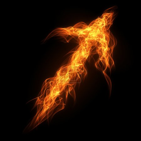 Photo for Burning fire arrow on the black background - Royalty Free Image