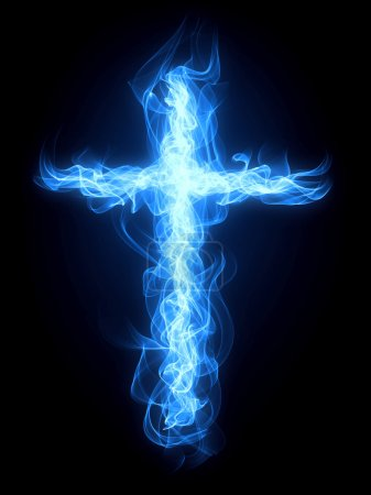 Photo pour Croix brûlante du gaz bleu feu et flamme - image libre de droit