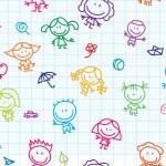 Happy children doodles seamless background...