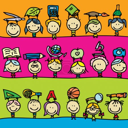Illustration for Set of doodle borders of happy kids go back to school - Royalty Free Image