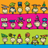 Set of doodle borders of happy kids go back to school