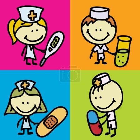 Illustration pour Icône ensemble d'enfants heureux doodle avec des outils médicaux joue à l'hôpital - image libre de droit