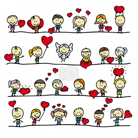 Illustration for Set of borders with doodle happy children with love valentine hearts - Royalty Free Image