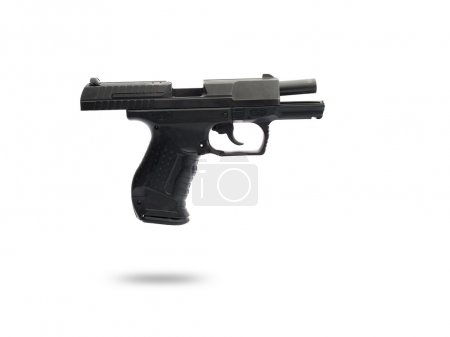Ammo firearm with the slide mounted and on white background