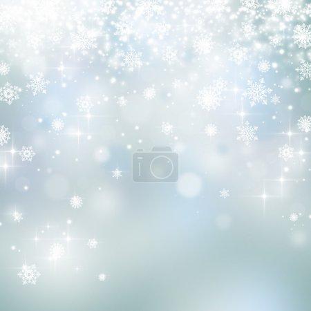 Photo pour Lumières et flocons de neige sur fond abstrait de Noël - image libre de droit