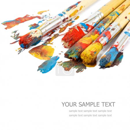 Photo for Colorful paints and artist brushes - Royalty Free Image