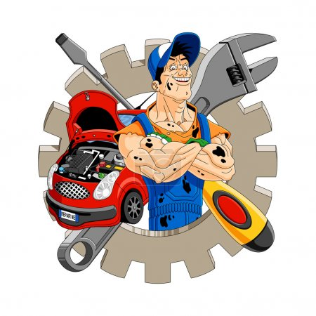 Illustration for Abstract illustration of a cheerful mechanic with gear, car, screwdriver and wrench on the background. - Royalty Free Image