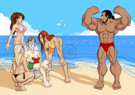 Illustration for Funny illustration about reading. On the beach, three attractive girls are charmed to an ugly reader: the girls do not pay attention to the tanned bodybuilder near them. Reading make you cool! - Royalty Free Image
