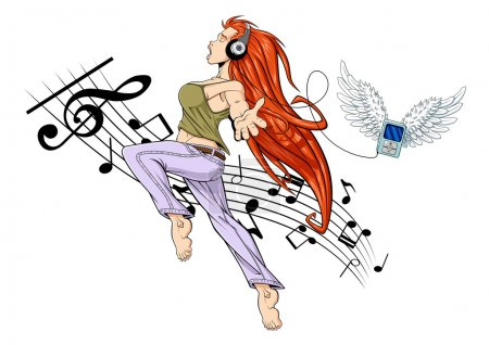 Illustration for Illustration of girl jumping while listening to music with headphones. Her MP3 player is flying (it has wings). The girl is barefoot. White background with musical notes. - Royalty Free Image