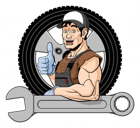 Illustration for Illustration of a smiling tire specialist. He is leaning on a big wrench and giving a thumbs up. Behind him there is a wheel. Isolated on white background. - Royalty Free Image