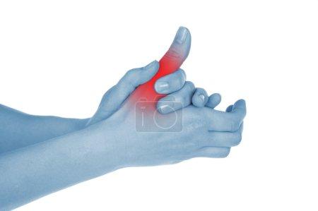 sore big toe, shown red