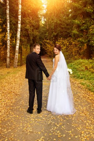 young couple looking back, holding for hands
