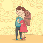 Illustration of multicultural boy and girl kissing on the cheek in hugs