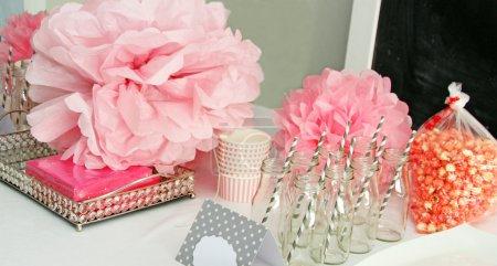 Table decorations for a girl's baby shower