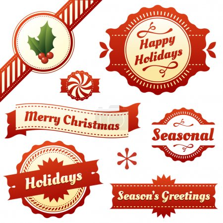 Seasonal Labels, Tags, and Banners for Christmas Holidays