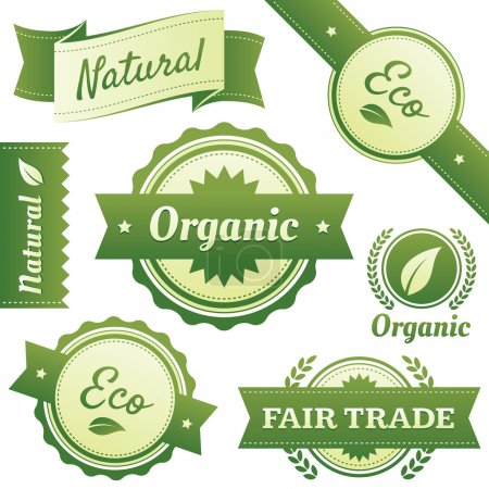 Illustration for High quality design elements for Natural, Certified Organic, Eco, and Fair Trade packaging labels, stickers, or badges. Hassle-free objects are neatly organized in layers and groups. - Royalty Free Image