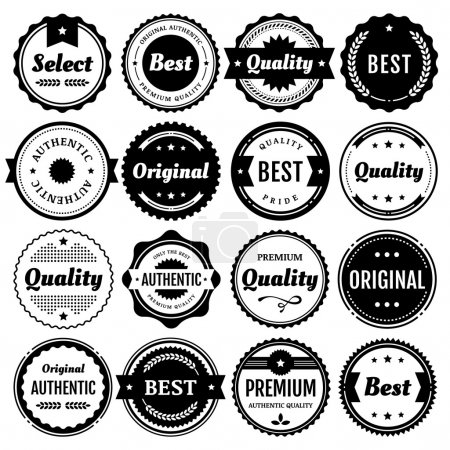 "Illustration for Collection of premium vector badges and packaging labels. Wide range of graphic styles (including modern, retro, clean, and classic). This set of isolated design elements includes typography for ""Quality"", ""Authentic"", ""Best"", ""Original"", and ""Select - Royalty Free Image"
