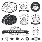 Vector illustration of various brain designs and badges Contains an outlined brain graphic a solid black brain