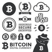 Vector Bitcoin Design Elements and Labels
