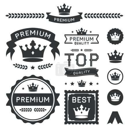 Illustration for Set of royal crown badges and vector labels. This premium design element collection contains a stylish crown ornament, banners, emblems, icons, symbols, and wreath divider. Useful for representing authority, quality, royalty, king, queen, awards, and - Royalty Free Image