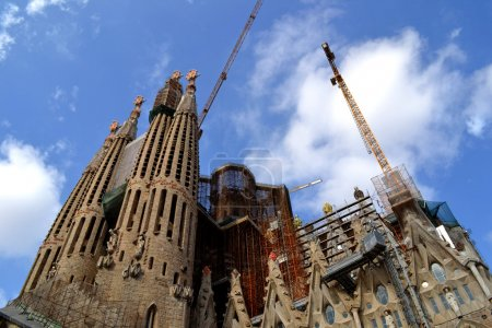 Expiatory Church of Holy Family (Sagrada Familia) by architect Gaudi, building is begun in 1882, Barcelona, Spain.