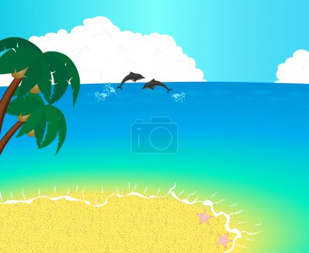 Vector illustration uninhabited Island with palms, ocean and a dolphins playing in the waves