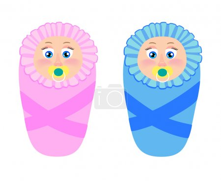 Illustration of isolated newborns twin girl and boy on white background