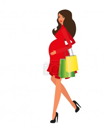 Happy pregnant woman comes out of the store with shopping, vector illustration