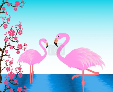Two flamingos in the pond, postcard, invitation