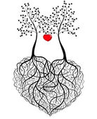 Abstract pattern - two trees whose roots are woven into a heart shape