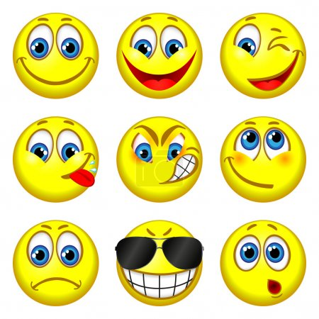 Set of funny people with different expressions