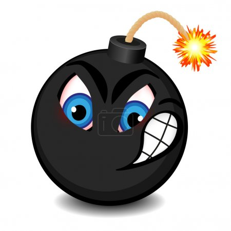 Illustration for Black bomb with a funny face about to explode - Royalty Free Image