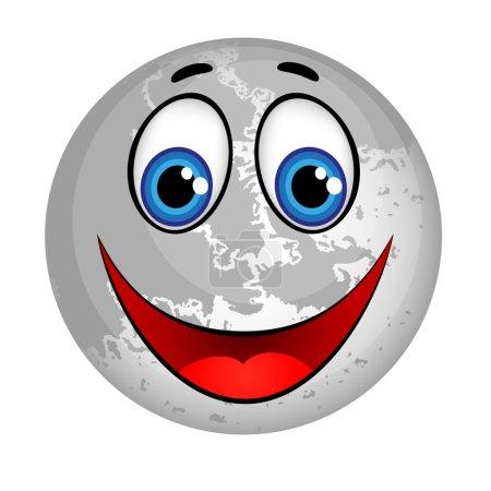 Smiling Planet Moon Cartoon Character.