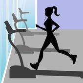Silueta mladé dívky v fitness centra