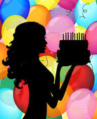 Greeting card - silhouette of a girl with cake and balloons