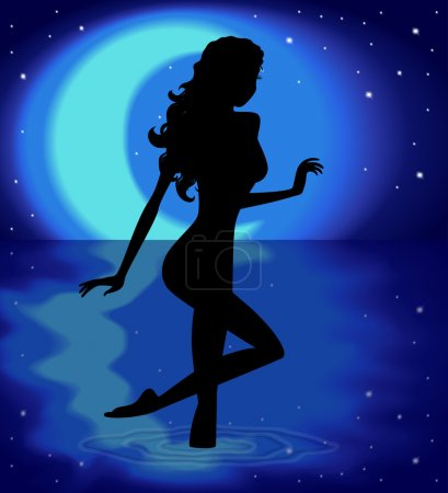 Silhouette girl on a background with the moon