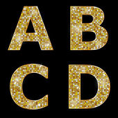 Golden metallic shiny letters A B C D