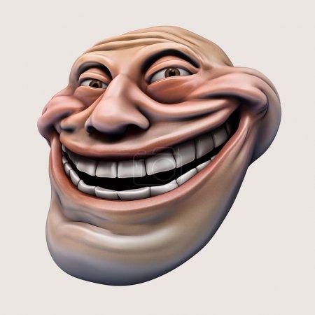 Photo pour Rire internet troll tête 3d illustration isolé - image libre de droit