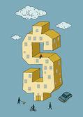 Dollar shaped building (vector illustration)