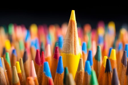 Photo for Color pencils representing the concept of Standing out from the crowd - Royalty Free Image