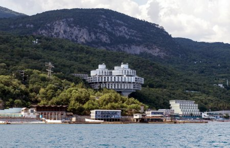 "The original building of sanatorium ""Kuhpaty"" round on the Black Sea near Yalta, Crimea, Ukraine"