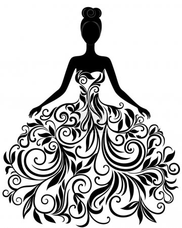 Illustration for Vector silhouette of young woman in elegant wedding dress - Royalty Free Image