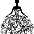Vector silhouette of young woman in elegant weddin...