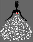 Vector silhouette of young woman in elegant wedding dress