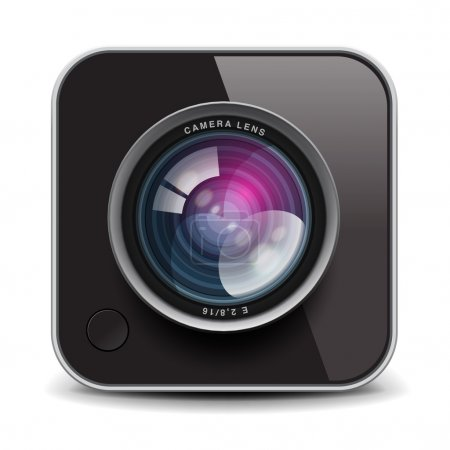 Color photo camera icon, vector Eps10 image