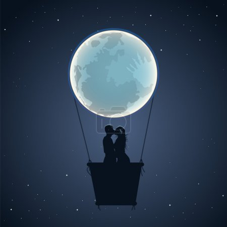 Lovers by a hot air balloon in the form of the moon