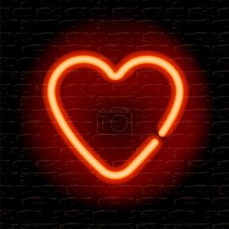 Photo for Neon heart on the brick wall - Royalty Free Image