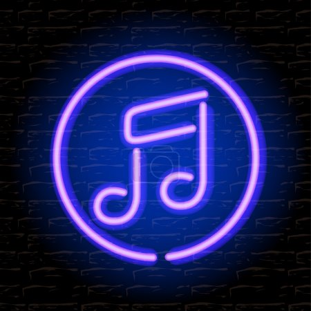 Photo for Neon music note on the brick wall - Royalty Free Image